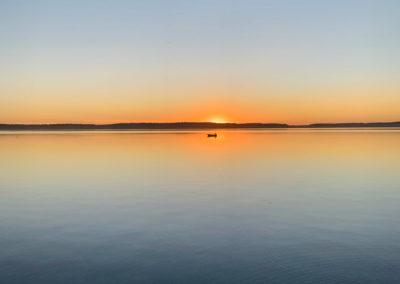 zachód słońca nad jeziorem Mazury